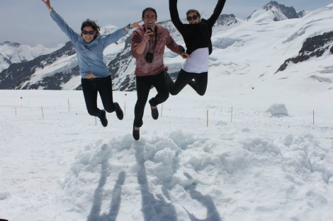 A jump shot felt appropriate off that snow ledge we found.