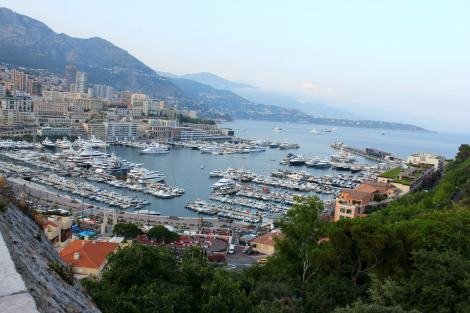 Super yachts. So many super yachts. View of Monte Carlo, Monaco.